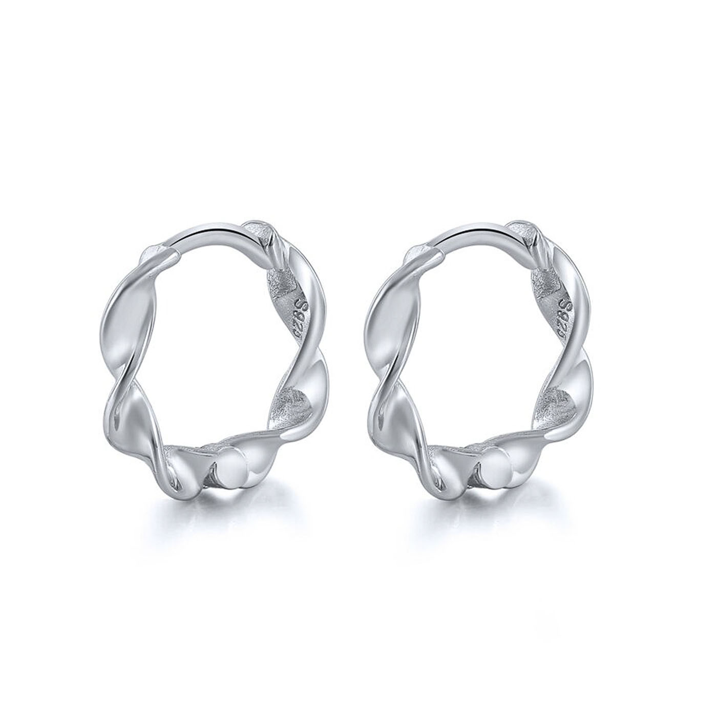 boucles d'oreilles torsadées silver