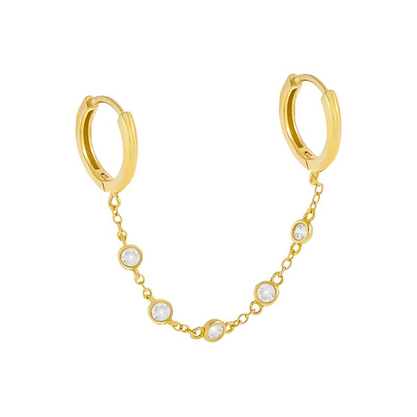 double boucle d'oreille chaine gold