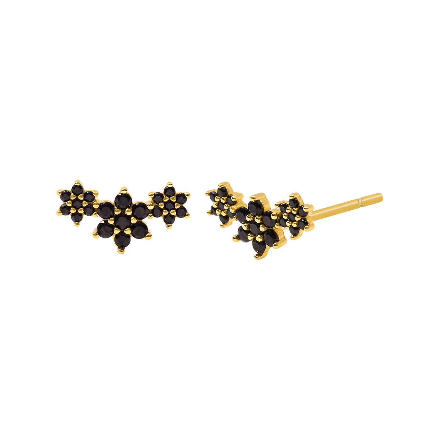 boucles d'oreilles étoiles gold noir