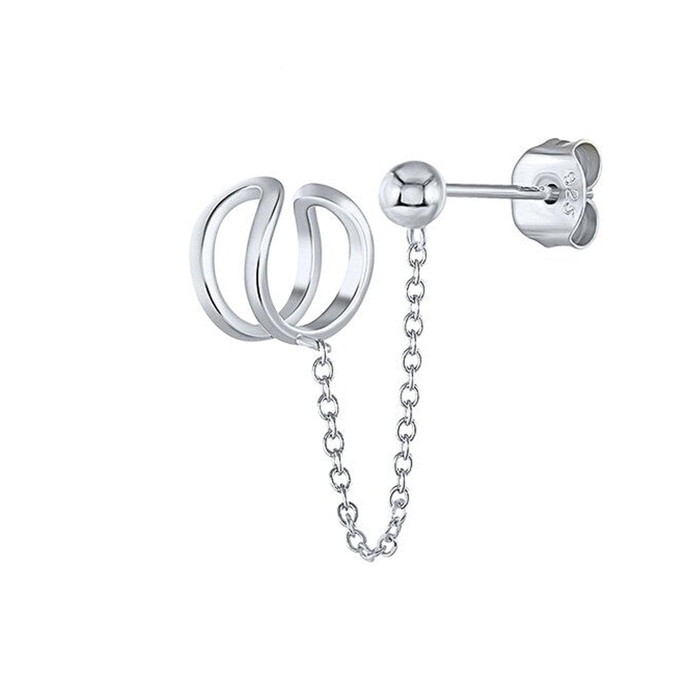 boucle d'oreille et faux piercing cartilage chaine silver