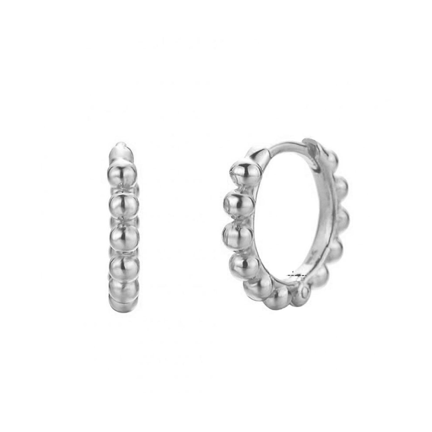 boucles d'oreilles anneaux et perles silver