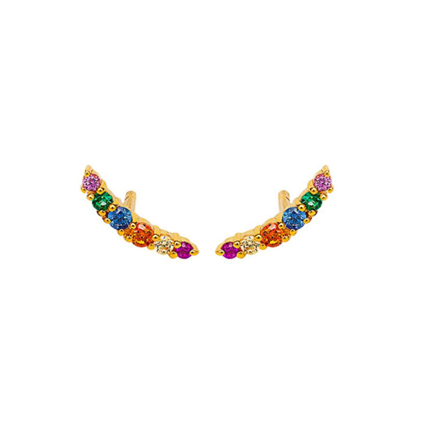 boucles d'oreilles gold zircons multicolors