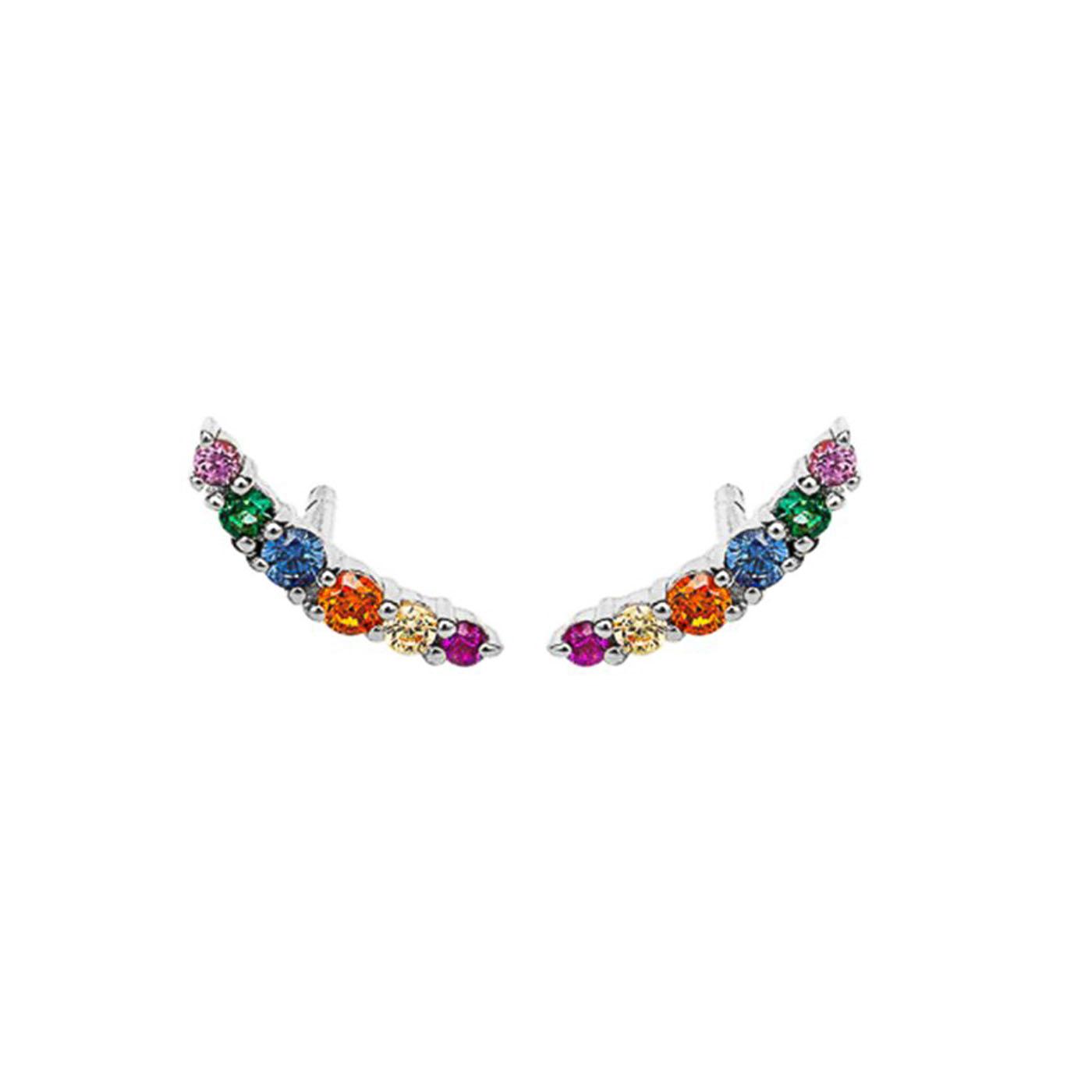 boucles d'oreilles silver zircons multicolors